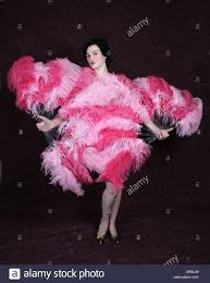 ostrich feather fans burlesque performer with pink ostrich feather fans stock photo