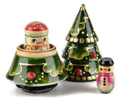 Wooden Toy Christmas Tree Decorations - christmas tree russian nesting doll 3 pieces tree santa snowman