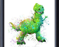 disney pixar toy story rex dinosaur watercolor poster print