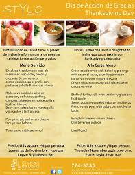 thanksgiving menu for hotel ciudad de david chiriquí chatter