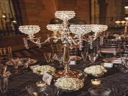 wedding candelabra centerpieces 5 arm candelabra centerpiece wedding hanging crystals