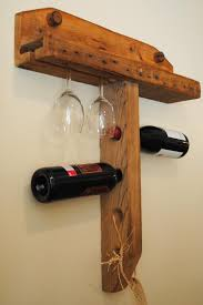 hand crafted wall mounted wine holder empty spaces design wine