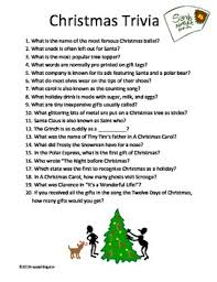 Ideas For Christmas Quizzes by Free Christmas Trivia Twenty Fun Questions For Your Christmas