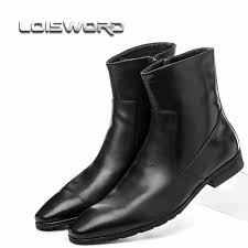 quality fashion zipper pointed toe black mens ankle boots genuine