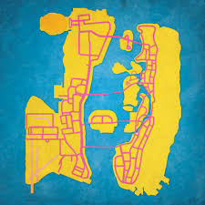 Gta World Map Grand Theft Auto Vice City Map Art City Prints