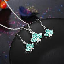 2017 green leaf charms christmas tree leaves pendant necklace and