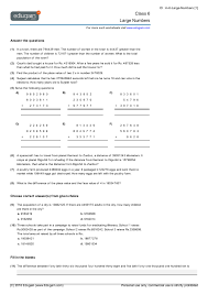 grade 6 math worksheets and problems large numbers edugain global