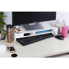 Upright Desk Organizer Wood Computer Monitor Stand Desktop Organizer Rack Keyboard Shelf