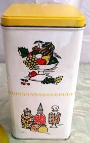 vintage bachman square tin canister country kitchen hard to