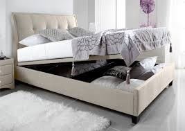 Ottoman Storage Bed Double by Kaydian Accent Upholstered Ottoman Storage Bed Oatmeal Fabric
