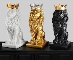 gold lion statues gold crown lion statue handicraft decorations christmas
