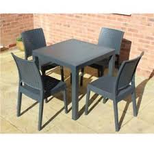Grey Bistro Chairs Rattan Effect Grey Bistro Set Square Table 2 Or 4 Chairs