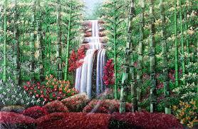 jade waterfall gemstones painting