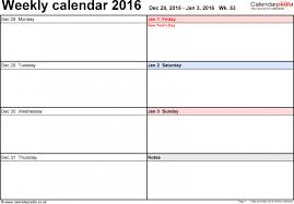 printable weekly calendar template saneme
