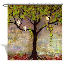 Shower Curtains With Trees Owl In Tree With Moon Shower Curtain By Blendastudio