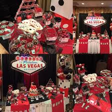 dessert table set up for a casino themed 30th birthday bom