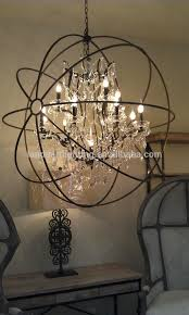 Sphere Chandelier With Crystals Foucault S Iron Orb Chandelier Foucault S Orb