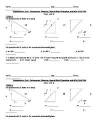 best trigonometry quiz special right triangles and soh cah toa