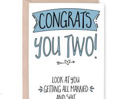 Funny Wedding Wishes Cards Engagement Card Etsy