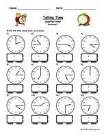 telling time worksheet to the half hour telling time