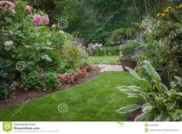 lush backyard garden stock photo image 32408660