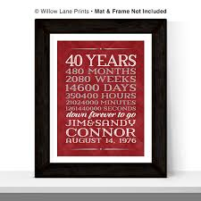 40 year wedding anniversary gift 40th anniversary gift for parents 40 year anniversary 40th