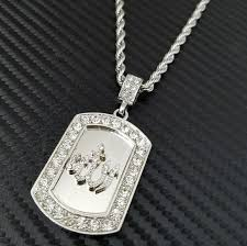 dog tag pendant necklace images Accessories white gold pt cz allah dog tag pendant necklace jpg