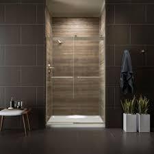 clear glass floor l kohler levity 48 in x 74 in semi frameless sliding shower door in