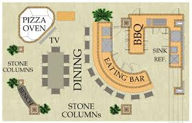 outdoor living floor plans outdoor living kitchen pizza oven bar and dining area
