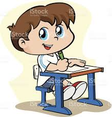student writing paper child student writing with pencil on a sheet of paper stock vector child student writing with pencil on a sheet of paper royalty free stock vector art