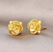 real gold earrings real solid 24k yellow gold earrings women s flower stud