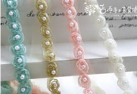 pearl lace aliexpress buy 5yard beautiful 3d flower pearl lace