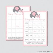 elephant baby shower bingo cards prefilled bingo cards and blank