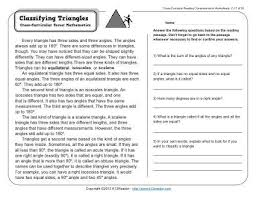 naming triangles worksheet classifying triangles 3rd grade reading comprehension worksheet
