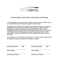 Credit Release Form Credit Report Authorization And Release Edit Fill Out Top