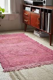 thinking overdyed jute kilim woven rug in pink