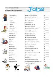 intermediate esl worksheets jobs matching exercise