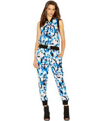 roy jumpsuit lyst roy sleeveless band collar printed jumpsuit