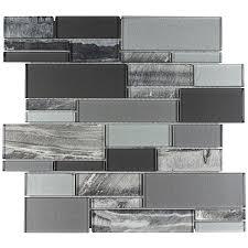 Shop Elida Ceramica Laser Sky Linear Mosaic Glass Wall Tile - Backsplash tile lowes