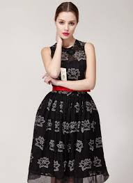 black fit and flare dress silk embroidered lace mini dress