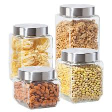 amazon com oggi 4 piece square glass canister set with stainless
