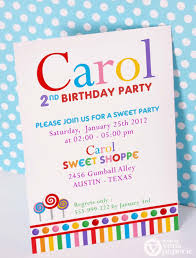 Invitation Cards Birthday Party Diy Printable Invitation Card Candyland Sweet Shoppe