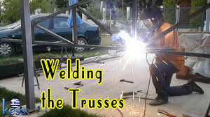 how to build a steel structure house part6 welding roof trusses