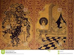 thai art pattern old style the wall in the temple stock images