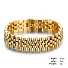 luxury bracelet gold chains images Luxury gold plated stainless steel bracelet 200mm wristband men jpg