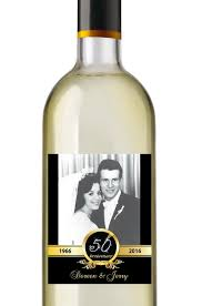 anniversary wine bottles 50th anniversary wine labels personalized photo anniversary wine