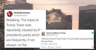 Tweet Meme - fire on top of trump tower instantly became a meme 14 tweets