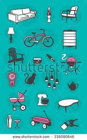 Set Retro Home Vector Icons Common Stock Vector - Retro home furniture