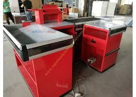 design retail cash register table cashier desk with conveyor belt