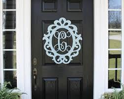 Front Door Metal Decor Metal Cross Front Door Wreaths Monogram Door Hanger Initial